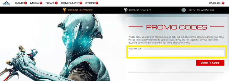 How to redeem promo codes in Warframe